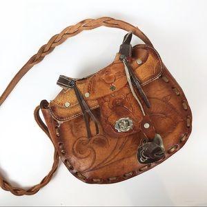 Vintage Hand Tooled Leather Saddle Purse